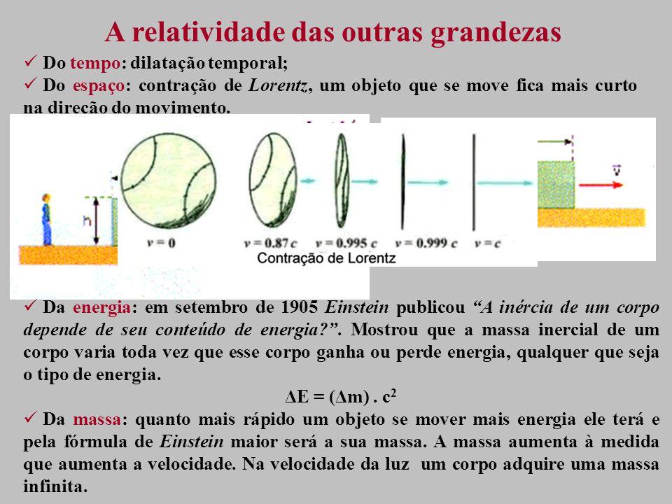A relatividade das outras grandezas Do tempo: dilatação temporal; Do espaço: contração de Lorentz, um objeto que se move fica mais curto na direção do movimento.