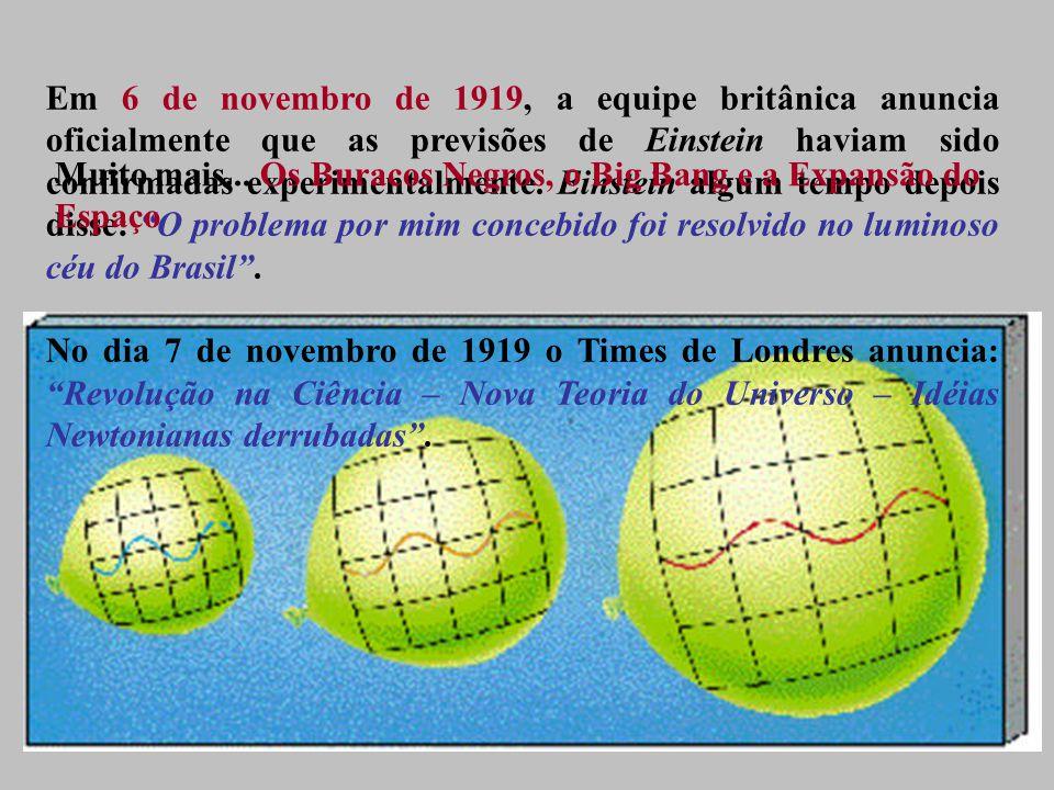 Em 6 de novembro de 1919, a equipe britânica anuncia oficialmente que as previsões de Einstein haviam sido confirmadas experimentalmente.