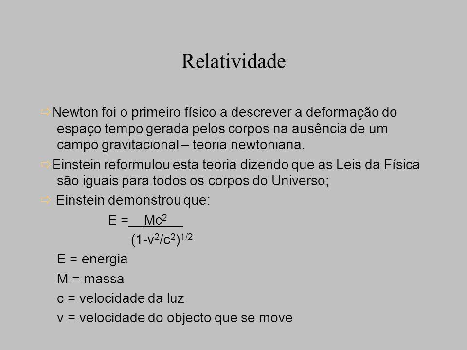 Relatividade Newton foi o primeiro físico a descrever a deformação do espaço tempo gerada pelos corpos na ausência de um campo gravitacional – teoria newtoniana.