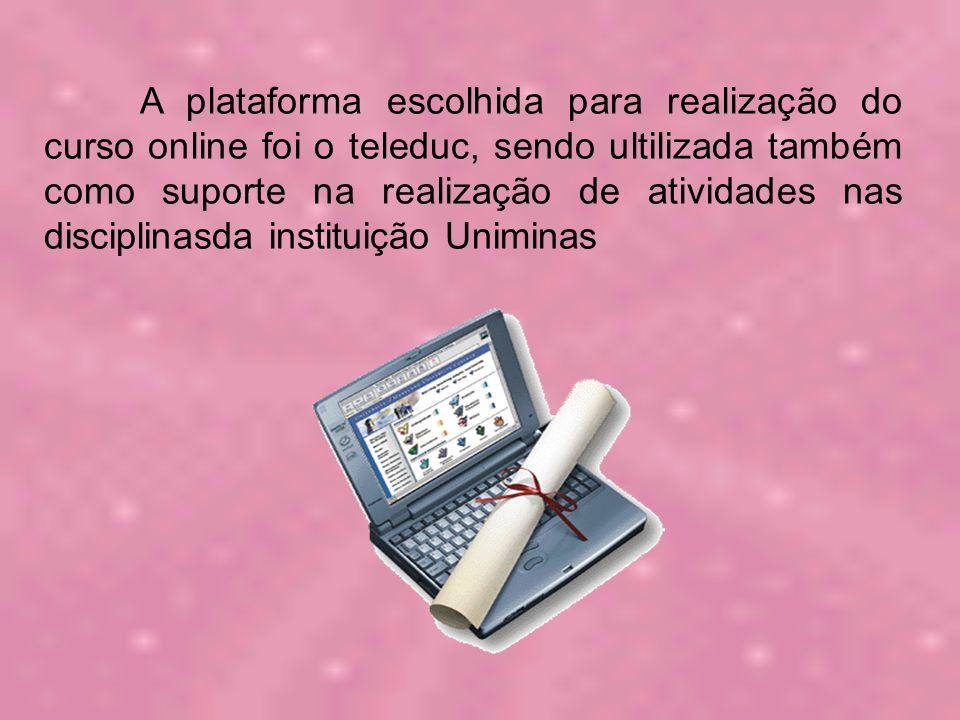 A plataforma escolhida para realização do curso online foi o teleduc, sendo ultilizada também como suporte na realização de atividades nas disciplinasda instituição Uniminas