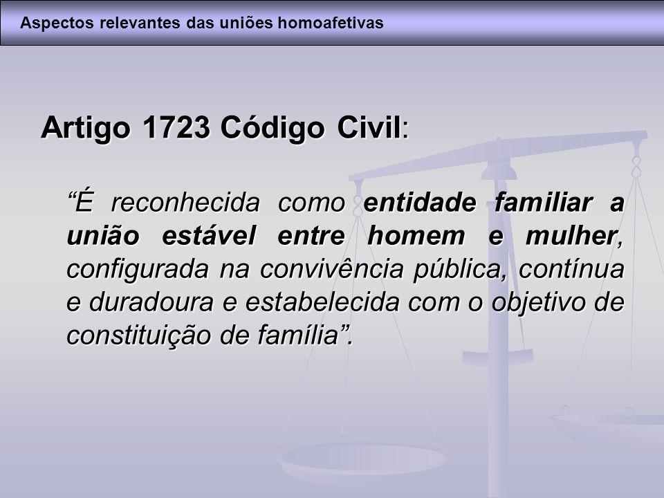 Artigo 1723 Código Civil: É reconhecida como entidade familiar a união estável entre homem e mulher, configurada na convivência pública, contínua e du