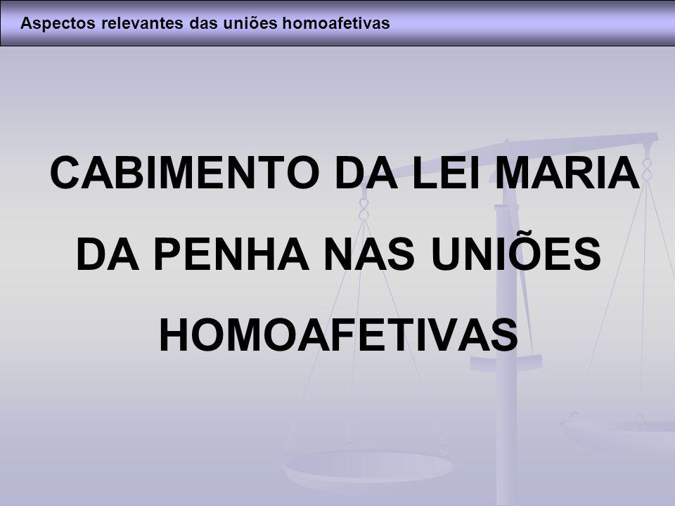 CABIMENTO DA LEI MARIA DA PENHA NAS UNIÕES HOMOAFETIVAS Aspectos relevantes das uniões homoafetivas