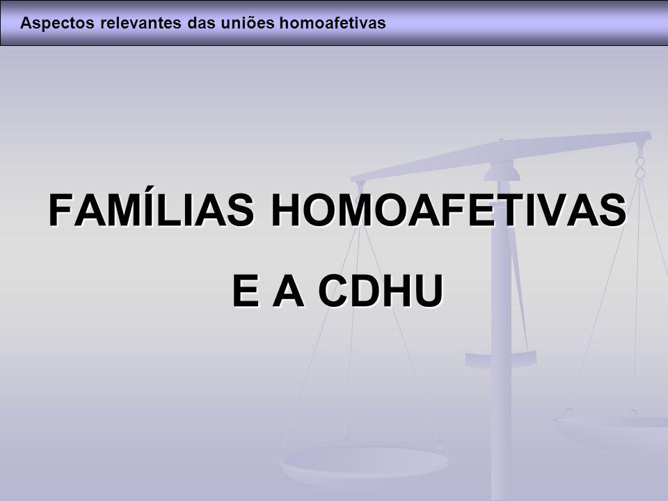 FAMÍLIAS HOMOAFETIVAS E A CDHU Aspectos relevantes das uniões homoafetivas