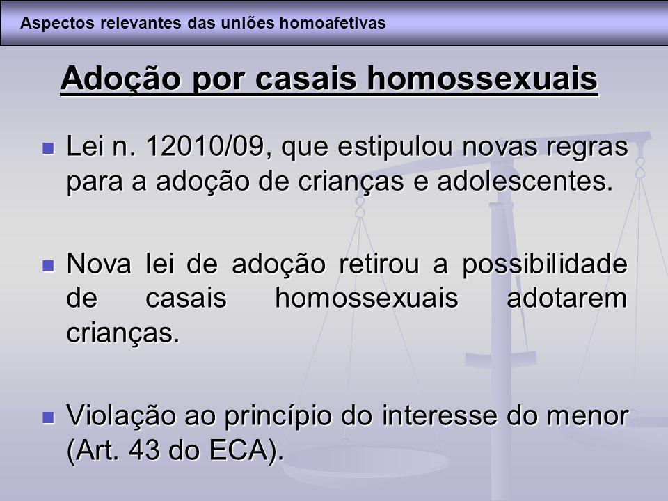Adoção por casais homossexuais Lei n. 12010/09, que estipulou novas regras para a adoção de crianças e adolescentes. Lei n. 12010/09, que estipulou no