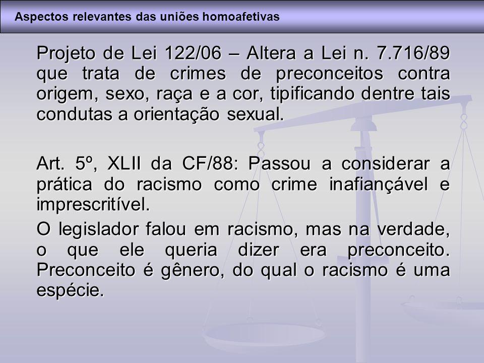 Projeto de Lei 122/06 – Altera a Lei n. 7.716/89 que trata de crimes de preconceitos contra origem, sexo, raça e a cor, tipificando dentre tais condut