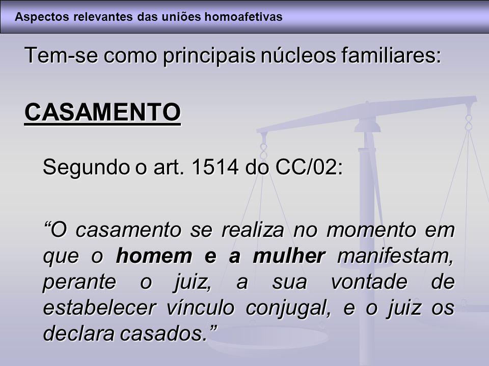 Tem-se como principais núcleos familiares: CASAMENTO Segundo o art. 1514 do CC/02: O casamento se realiza no momento em que o homem e a mulher manifes