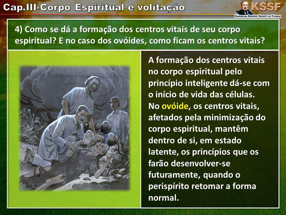4) Como se dá a formação dos centros vitais de seu corpo espiritual.