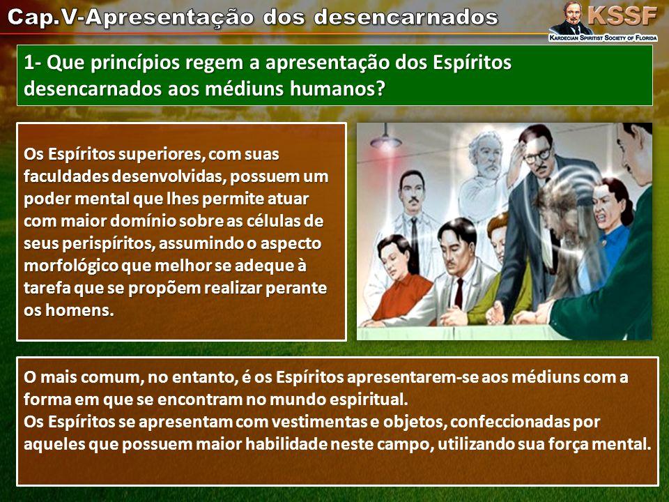 1- Que princípios regem a apresentação dos Espíritos desencarnados aos médiuns humanos.