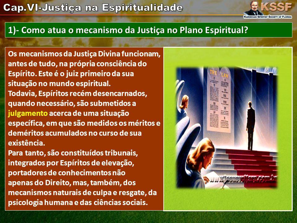 1)- Como atua o mecanismo da Justiça no Plano Espiritual.