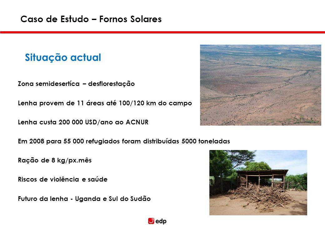 Situação actual Zona semidesertíca – desflorestação Lenha provem de 11 áreas até 100/120 km do campo Lenha custa 200 000 USD/ano ao ACNUR Em 2008 para
