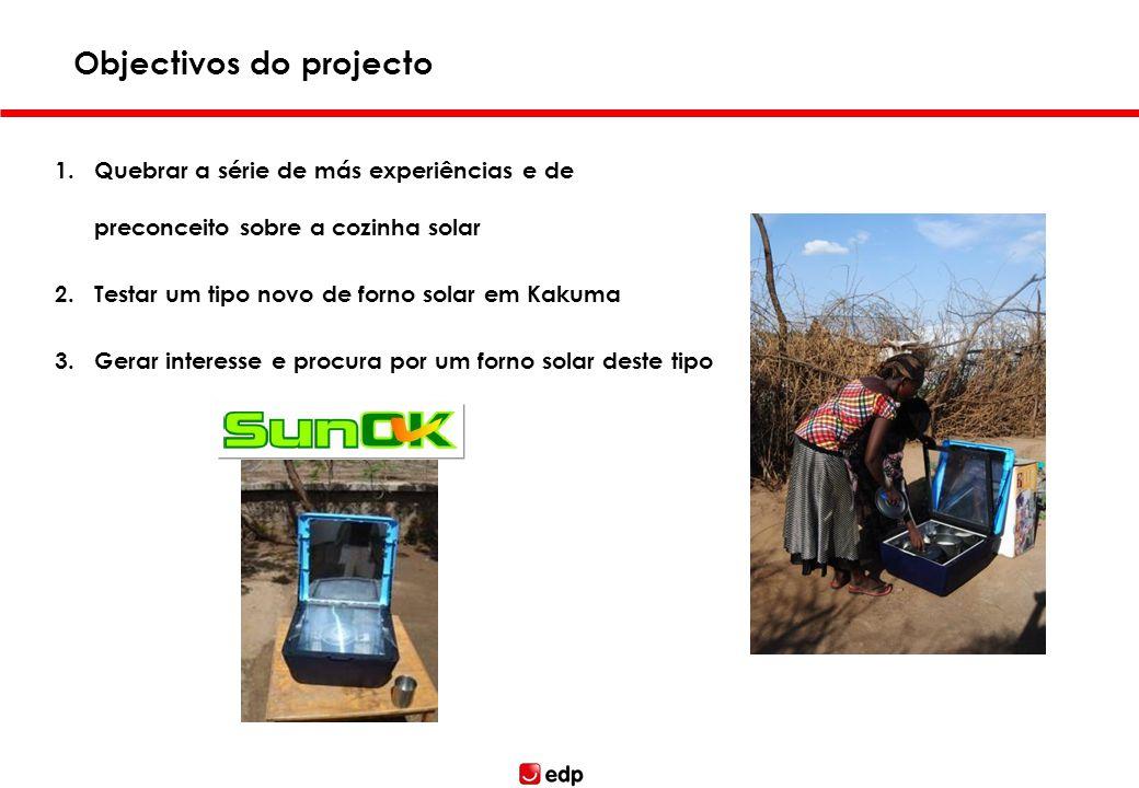 1.Quebrar a série de más experiências e de preconceito sobre a cozinha solar 2.Testar um tipo novo de forno solar em Kakuma 3.Gerar interesse e procur