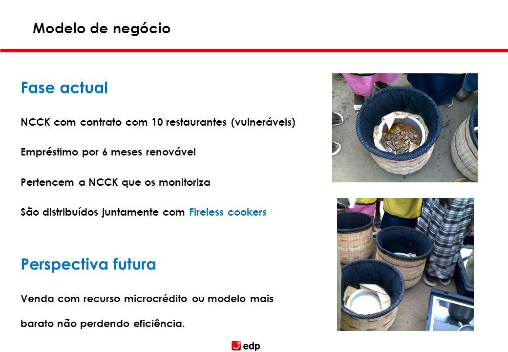 Fase actual NCCK com contrato com 10 restaurantes (vulneráveis) Empréstimo por 6 meses renovável Pertencem a NCCK que os monitoriza São distribuídos j