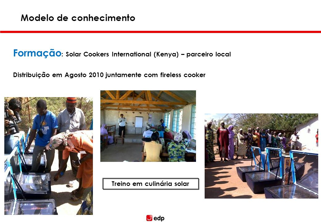 Formação : Solar Cookers International (Kenya) – parceiro local Distribuição em Agosto 2010 juntamente com fireless cooker Modelo de conhecimento Not