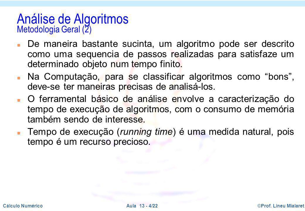 ©Prof. Lineu MialaretAula 13 - 4/22Cálculo Numérico n De maneira bastante sucinta, um algoritmo pode ser descrito como uma sequencia de passos realiza
