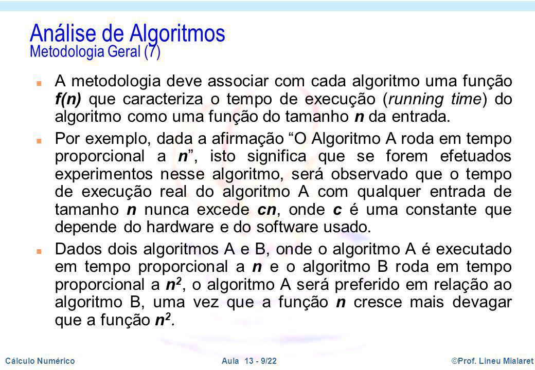 ©Prof. Lineu MialaretAula 13 - 9/22Cálculo Numérico Análise de Algoritmos Metodologia Geral (7) n A metodologia deve associar com cada algoritmo uma f