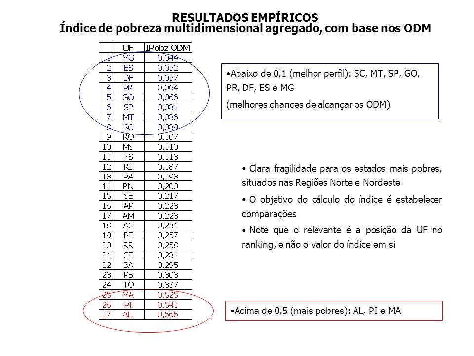 RESULTADOS EMPÍRICOS Abaixo de 0,1 (melhor perfil): SC, MT, SP, GO, PR, DF, ES e MG (melhores chances de alcançar os ODM) Clara fragilidade para os es