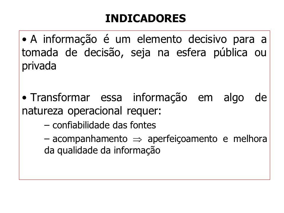 INDICADORES A informação é um elemento decisivo para a tomada de decisão, seja na esfera pública ou privada Transformar essa informação em algo de nat