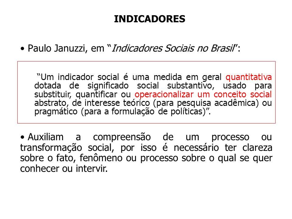 INDICADORES Paulo Januzzi, em Indicadores Sociais no Brasil: Um indicador social é uma medida em geral quantitativa dotada de significado social subst