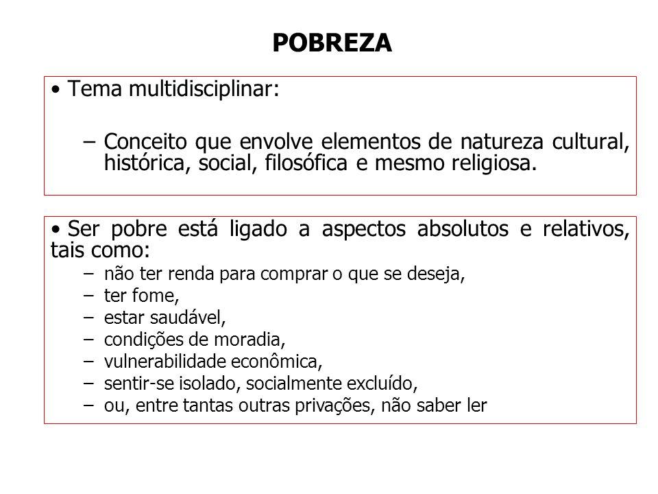 POBREZA Tema multidisciplinar: –Conceito que envolve elementos de natureza cultural, histórica, social, filosófica e mesmo religiosa. Ser pobre está l