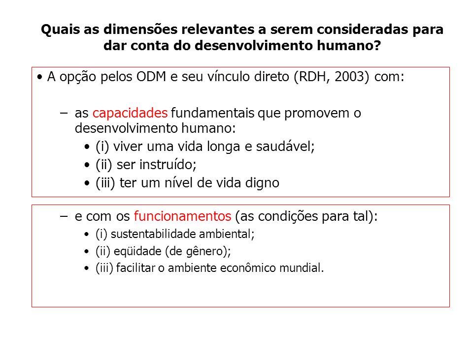 Quais as dimensões relevantes a serem consideradas para dar conta do desenvolvimento humano? A opção pelos ODM e seu vínculo direto (RDH, 2003) com: –