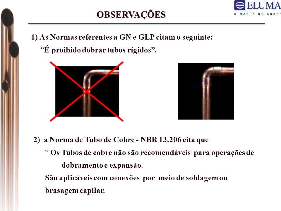 OBSERVAÇÕES 1) As Normas referentes a GN e GLP citam o seguinte: É proibido dobrar tubos rígidos.