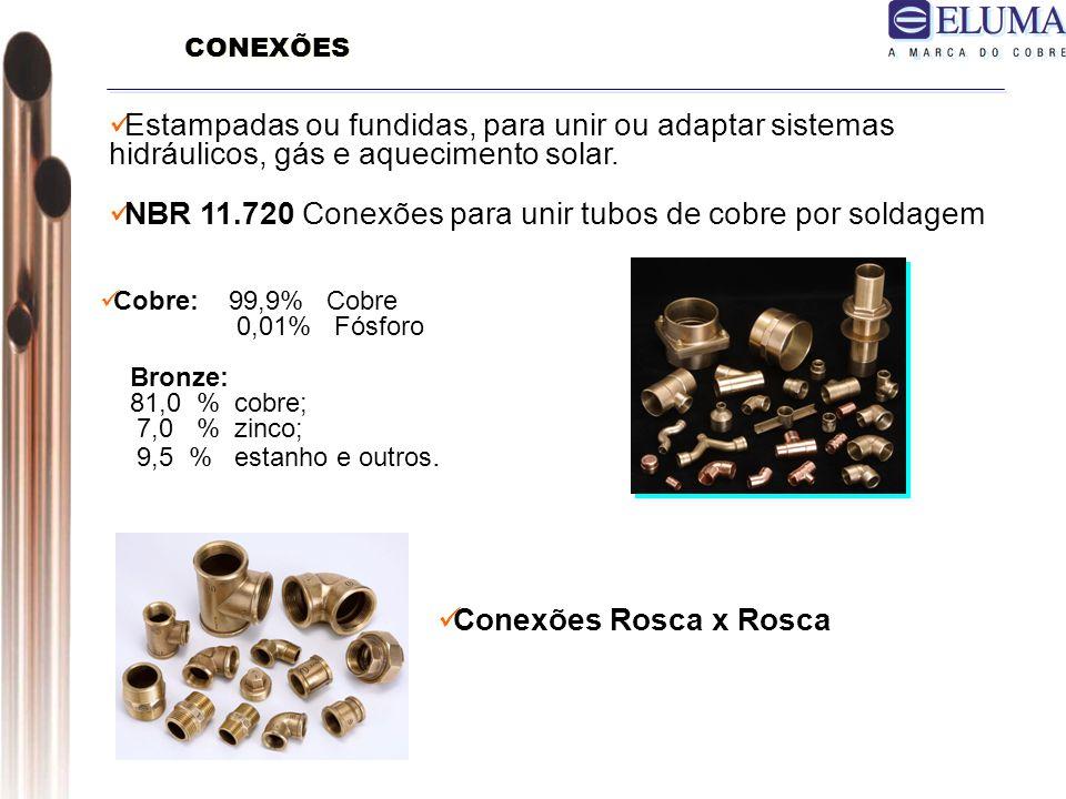 Cobre: 99,9% Cobre 0,01% Fósforo Bronze: 81,0 % cobre; 7,0 % zinco; 9,5 % estanho e outros.