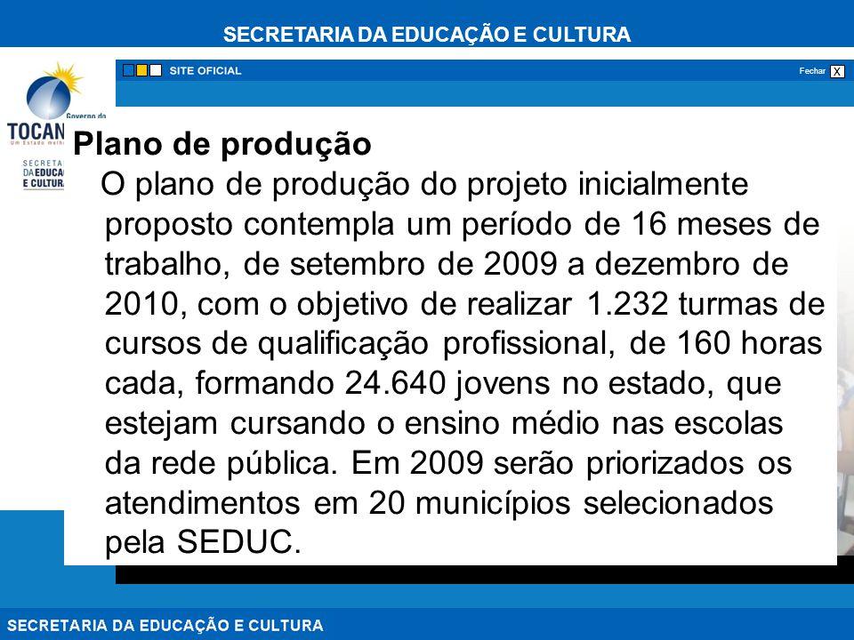SECRETARIA DA EDUCAÇÃO E CULTURA x Fechar Plano de produção O plano de produção do projeto inicialmente proposto contempla um período de 16 meses de t