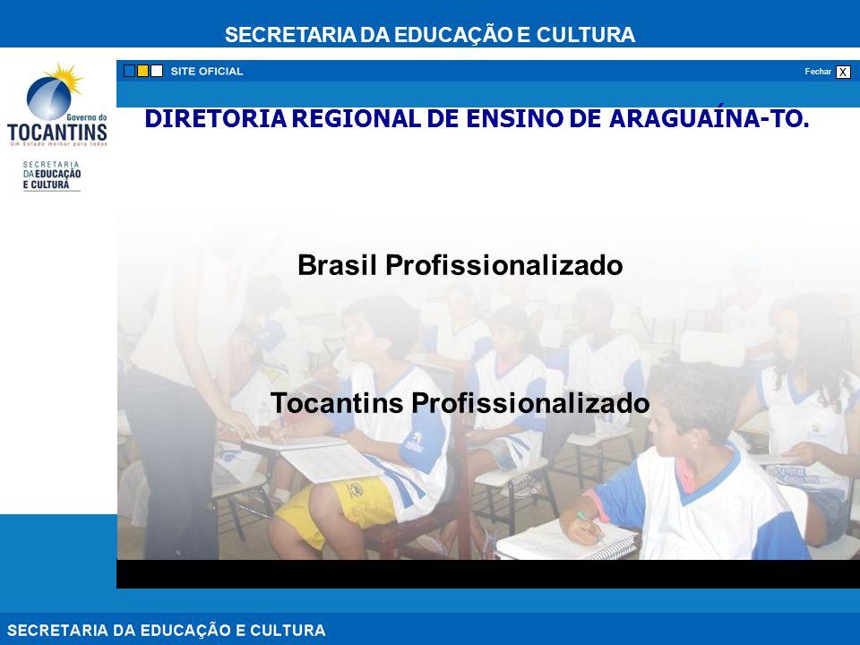 SECRETARIA DA EDUCAÇÃO E CULTURA x Fechar DIRETORIA REGIONAL DE ENSINO DE ARAGUAÍNA-TO. Brasil Profissionalizado Tocantins Profissionalizado