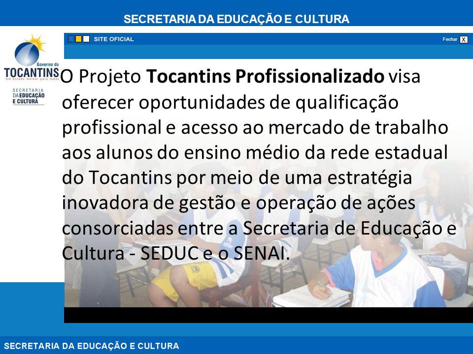 SECRETARIA DA EDUCAÇÃO E CULTURA x Fechar O Projeto Tocantins Profissionalizado visa oferecer oportunidades de qualificação profissional e acesso ao m