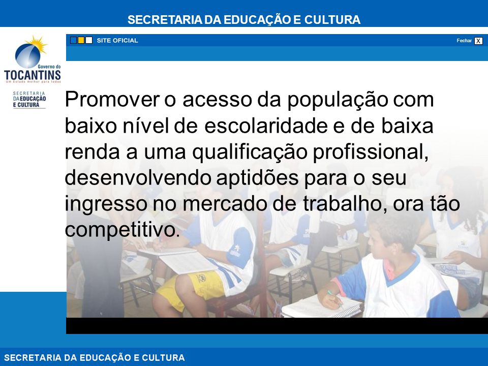 SECRETARIA DA EDUCAÇÃO E CULTURA x Fechar Promover o acesso da população com baixo nível de escolaridade e de baixa renda a uma qualificação profissio