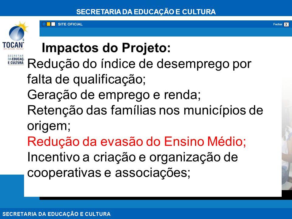 SECRETARIA DA EDUCAÇÃO E CULTURA x Fechar Impactos do Projeto: Redução do índice de desemprego por falta de qualificação; Geração de emprego e renda;
