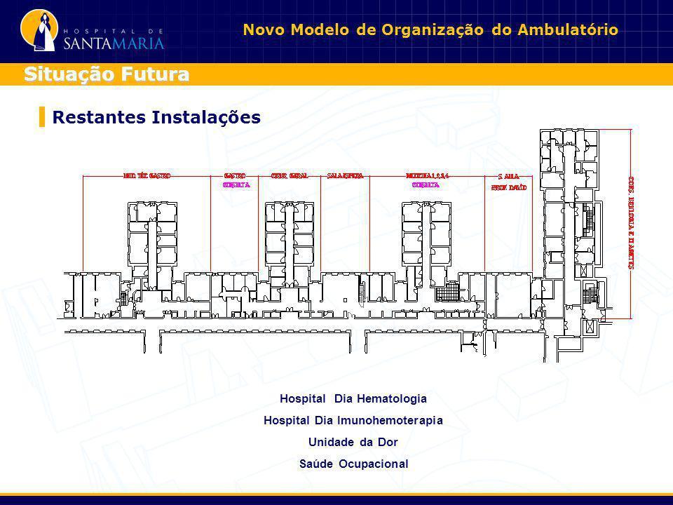 Novo Modelo de Organização do Ambulatório Restantes Instalações Situação Futura Instalações de Apoio Sala de Espera 1 x 133 m21 x 133 m2 Sala Administ