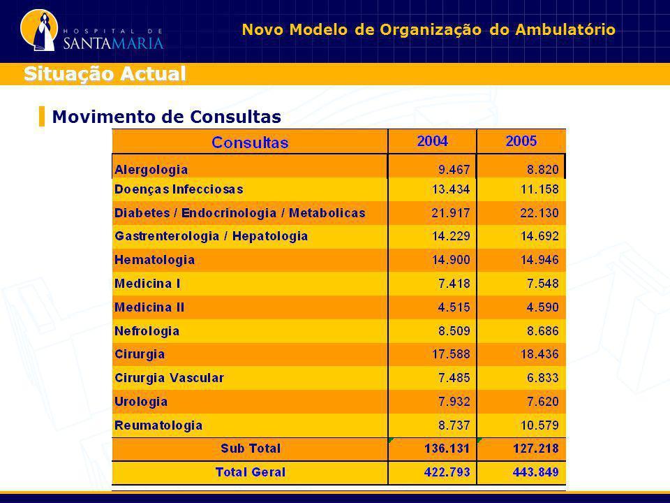 Novo Modelo de Organização do Ambulatório Movimento de Consultas Situação Actual