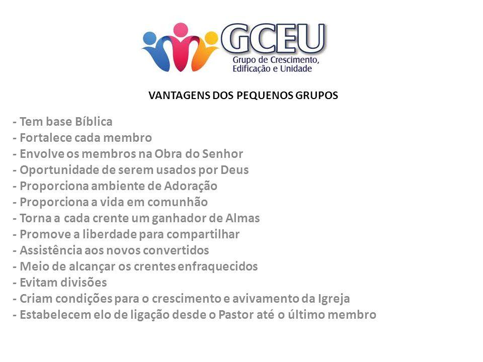 VANTAGENS DOS PEQUENOS GRUPOS - Tem base Bíblica - Fortalece cada membro - Envolve os membros na Obra do Senhor - Oportunidade de serem usados por Deu