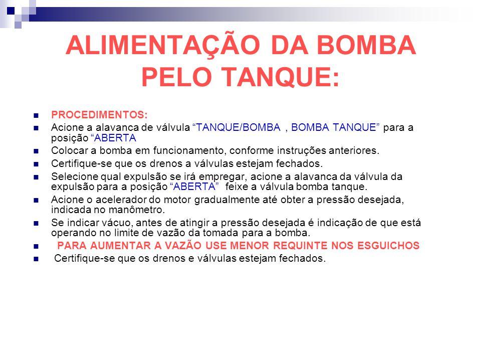 ALIMENTAÇÃO DA BOMBA PELO TANQUE: PROCEDIMENTOS: Acione a alavanca de válvula TANQUE/BOMBA, BOMBA TANQUE para a posição ABERTA Colocar a bomba em func