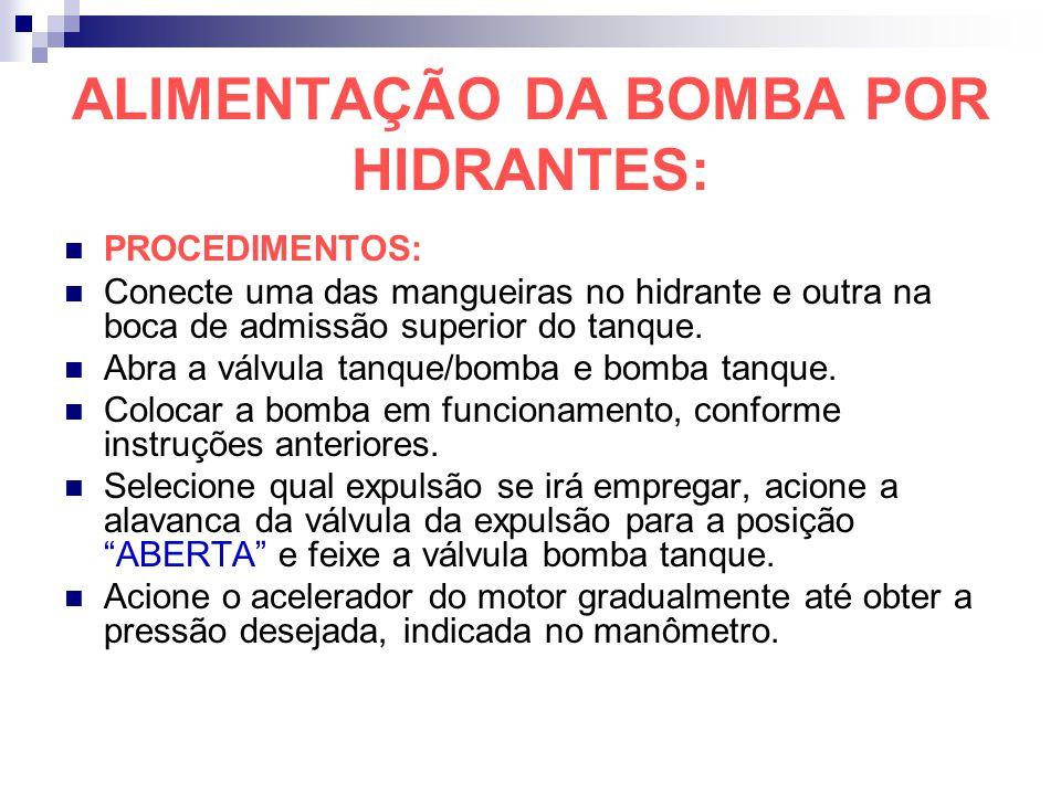 ALIMENTAÇÃO DA BOMBA POR HIDRANTES: PROCEDIMENTOS: Conecte uma das mangueiras no hidrante e outra na boca de admissão superior do tanque. Abra a válvu