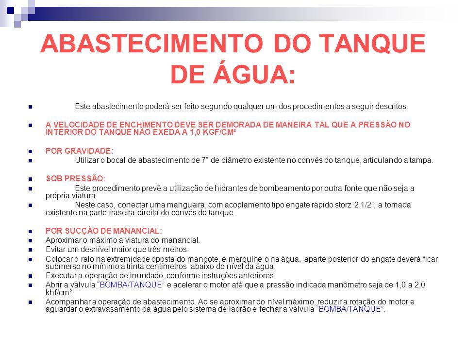 ABASTECIMENTO DO TANQUE DE ÁGUA: Este abastecimento poderá ser feito segundo qualquer um dos procedimentos a seguir descritos. A VELOCIDADE DE ENCHIME