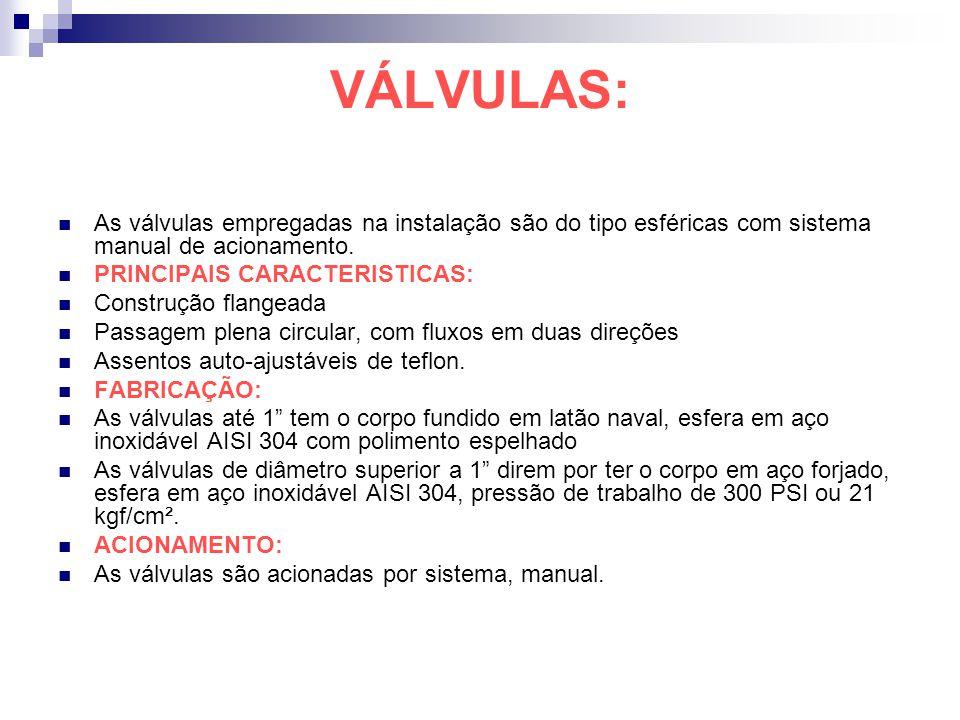 VÁLVULAS: As válvulas empregadas na instalação são do tipo esféricas com sistema manual de acionamento. PRINCIPAIS CARACTERISTICAS: Construção flangea