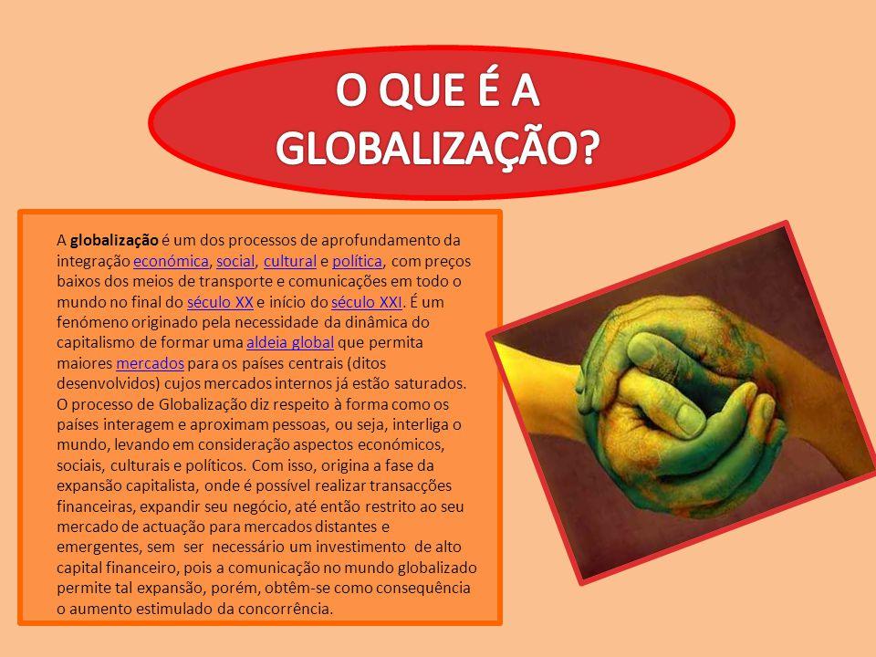 A globalização é um dos processos de aprofundamento da integração económica, social, cultural e política, com preços baixos dos meios de transporte e