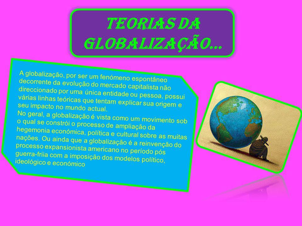 TEORIAS DA GLOBALIZAÇÃO… A globalização, por ser um fenómeno espontâneo decorrente da evolução do mercado capitalista não direccionado por uma única entidade ou pessoa, possui várias linhas teóricas que tentam explicar sua origem e seu impacto no mundo actual.