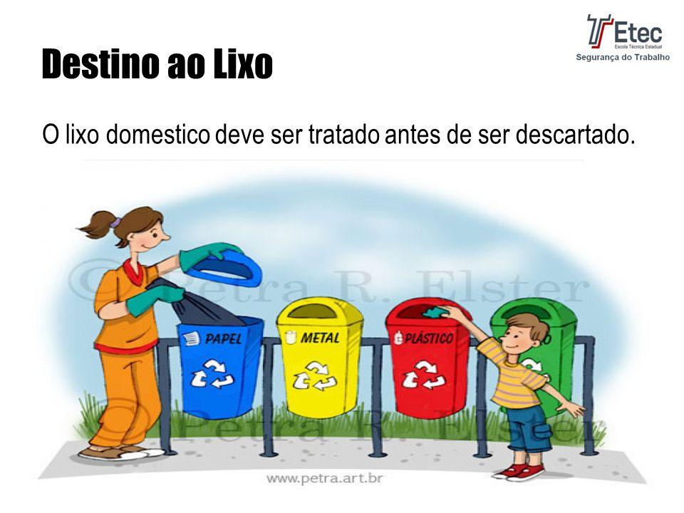 Destino ao Lixo O lixo domestico deve ser tratado antes de ser descartado.