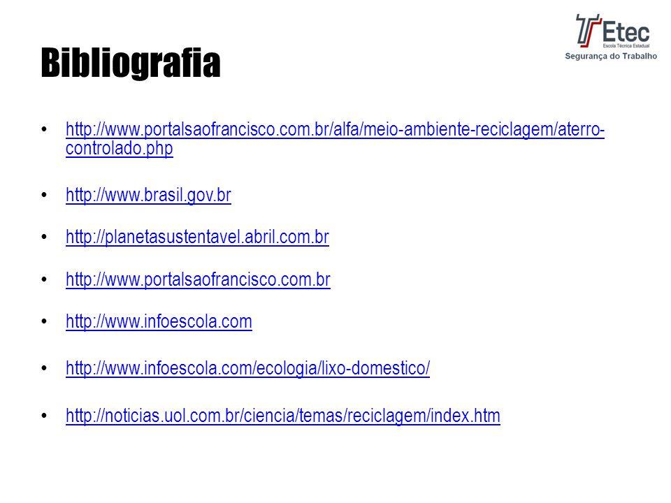 Bibliografia http://www.portalsaofrancisco.com.br/alfa/meio-ambiente-reciclagem/aterro- controlado.php http://www.portalsaofrancisco.com.br/alfa/meio-ambiente-reciclagem/aterro- controlado.php http://www.brasil.gov.br http://planetasustentavel.abril.com.br http://www.portalsaofrancisco.com.br http://www.infoescola.com http://www.infoescola.com/ecologia/lixo-domestico/ http://noticias.uol.com.br/ciencia/temas/reciclagem/index.htm