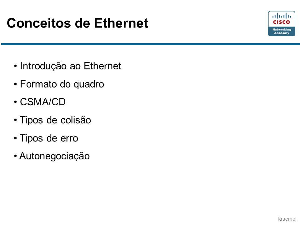 Kraemer Conceitos de Ethernet Introdução ao Ethernet Formato do quadro CSMA/CD Tipos de colisão Tipos de erro Autonegociação