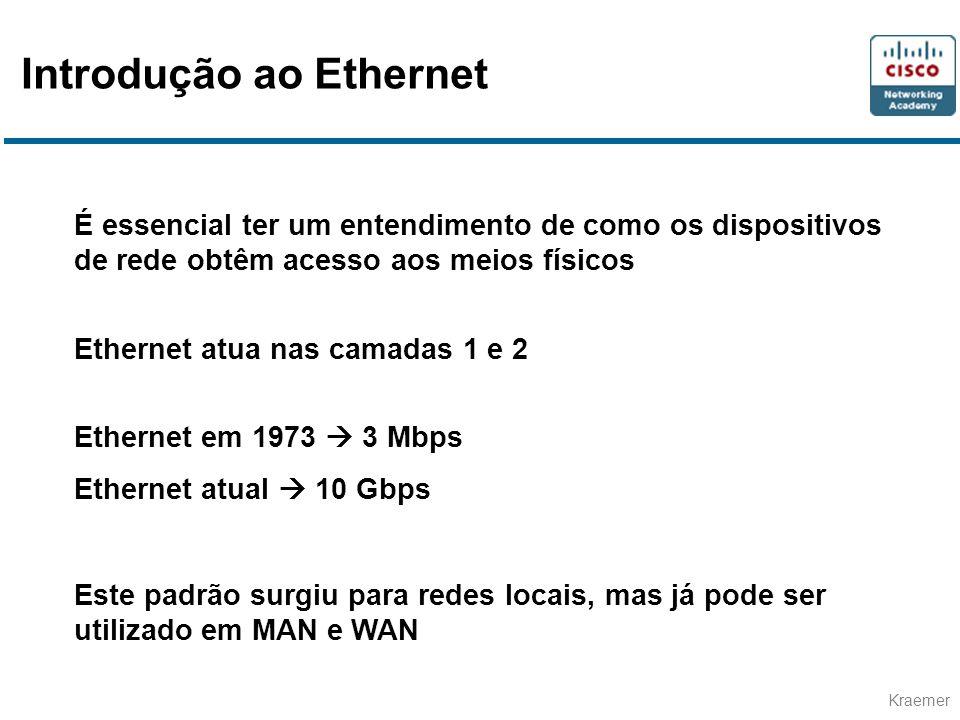 Kraemer É essencial ter um entendimento de como os dispositivos de rede obtêm acesso aos meios físicos Ethernet atua nas camadas 1 e 2 Ethernet em 197