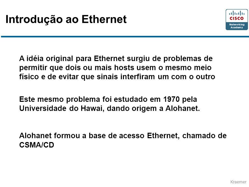 Kraemer Comprimento/Tipo Se menor que 1536 (0x600), então indica o comprimento (nº de Bytes) Senão, indica o tipo de protocolo à camada superior Dados Em Ethernet não ultrapassa 1500 Octetos É necessário um enchimento mínimo de 64 Octetos Formato do quadro