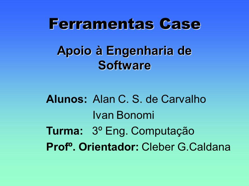 Ferramentas Case Apoio à Engenharia de Software Alunos: Alan C. S. de Carvalho Ivan Bonomi Turma: 3º Eng. Computação Profº. Orientador: Cleber G.Calda