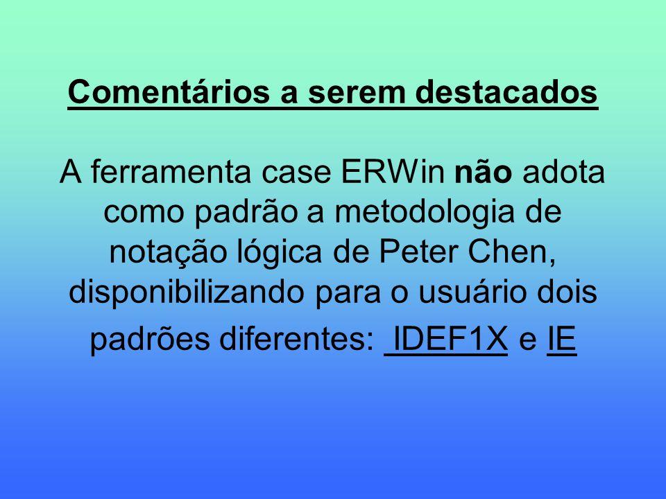 Comentários a serem destacados A ferramenta case ERWin não adota como padrão a metodologia de notação lógica de Peter Chen, disponibilizando para o us