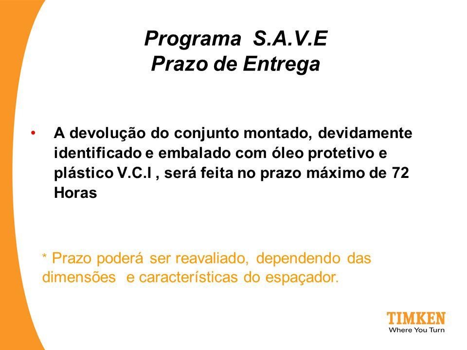 Programa S.A.V.E Prazo de Entrega A devolução do conjunto montado, devidamente identificado e embalado com óleo protetivo e plástico V.C.I, será feita