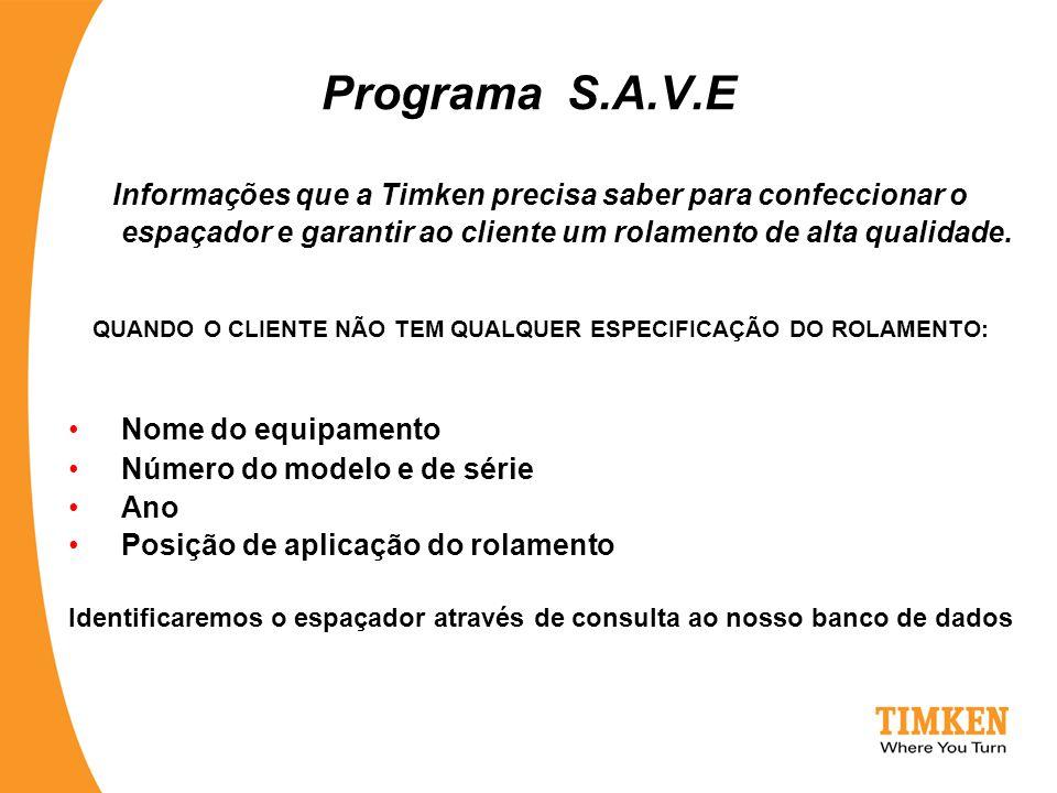 Programa S.A.V.E Informações que a Timken precisa saber para confeccionar o espaçador e garantir ao cliente um rolamento de alta qualidade. QUANDO O C