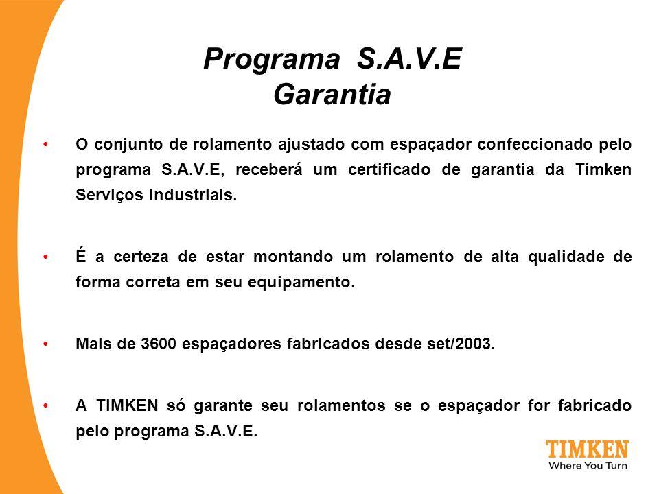Programa S.A.V.E Garantia O conjunto de rolamento ajustado com espaçador confeccionado pelo programa S.A.V.E, receberá um certificado de garantia da T